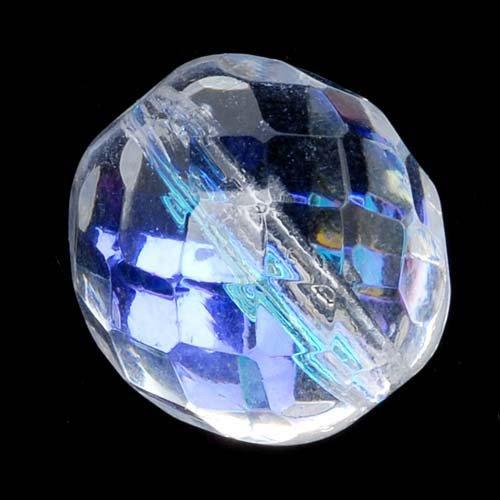 Jablonex Czech Fire Polished Glass Beads 14mm Round Crystal AB (8)