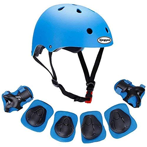 Kids Outdoor Sport Protective Gear Set with Helmet Knee Elbow Wrist Pads Adjustable Safety for Cycling Skateboarding Skating Rollerblading Hoverboard BMX and Other Extreme Sports Activities (blue)