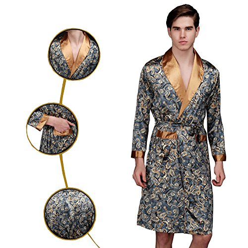ONTBYB Men Satin Robe Silk Long Sleeve Kimono Bathrobe Classic Satin Sleepwear