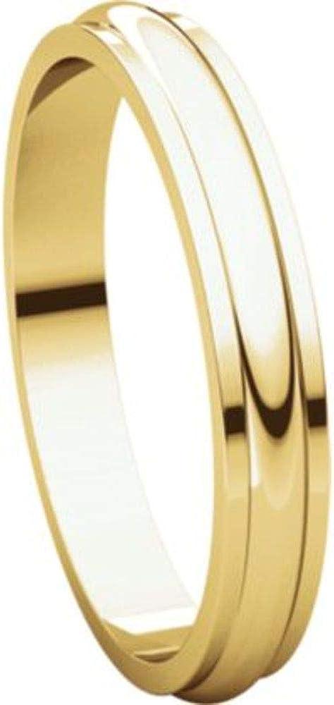 Bonyak Jewelry 14k Yellow Gold 3 mm Half Round Edge Band Size 15
