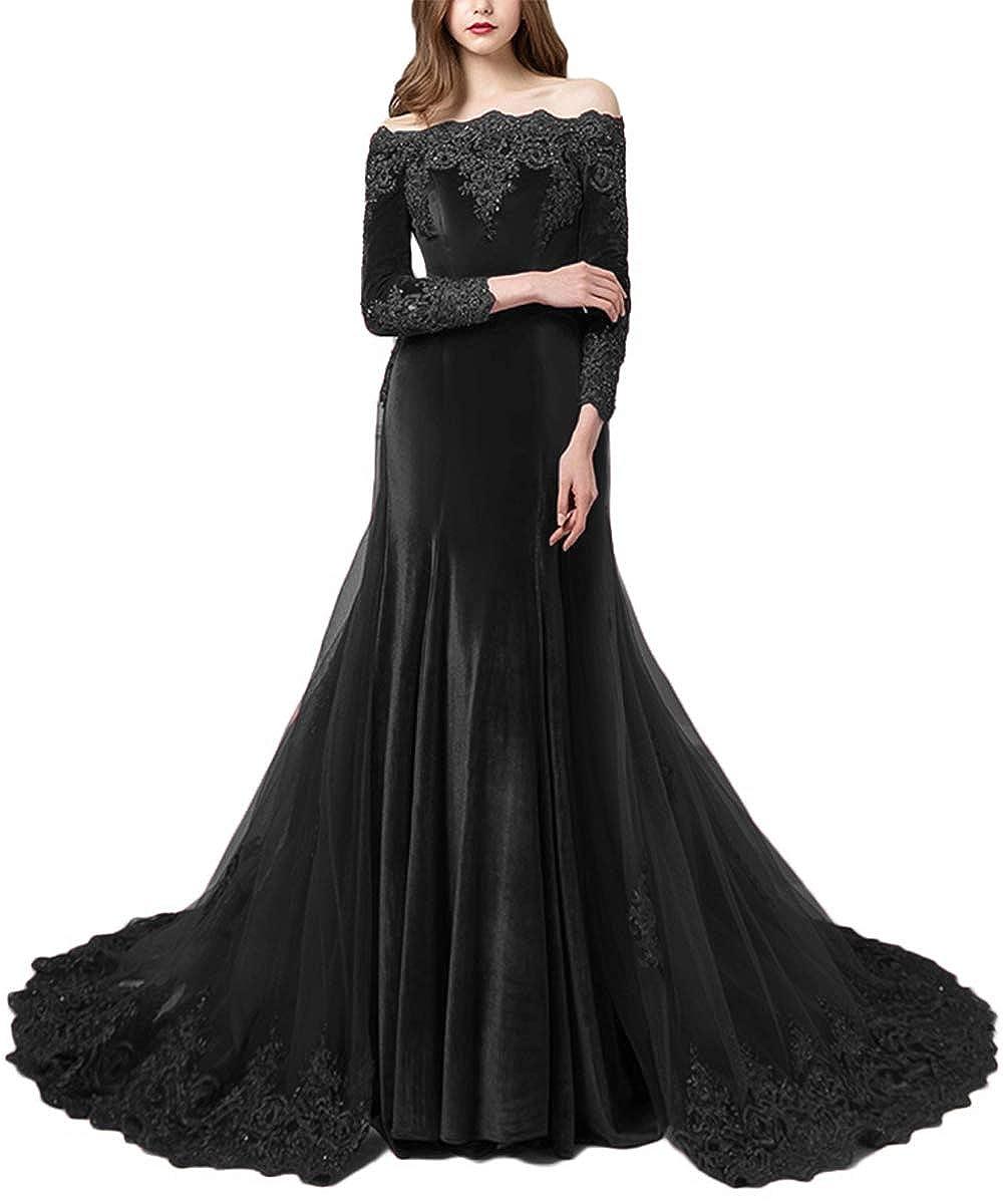 Black Promworld Women's Off the Shoulder Velvet Evening Dress with Sleeves Applique Beaded Formal Prom Dress