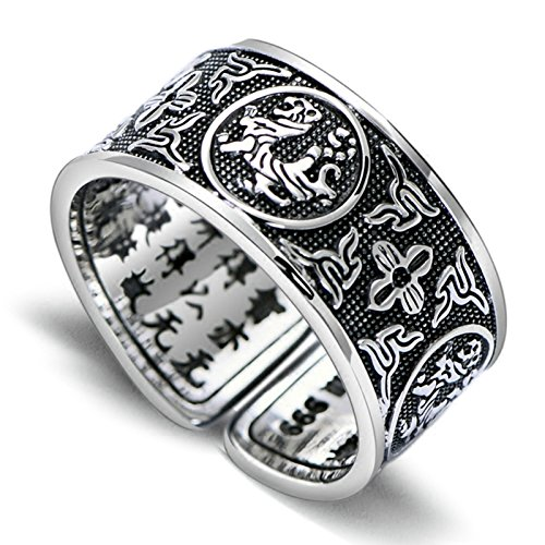 (ANAZOZ 999 Silver Jewelry Retro Thai Silver God Beast Tiger Ring Open Index Finger Ring for Men Silver Black Size)