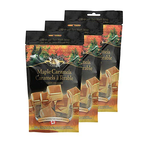 LB Maple Treat Caramel Sugar Candy/Canadian Maple Syrup Caramel Candies (3-Pack) 200 Grams 7 Ounces -