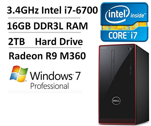 2016 NEW Dell Inspiron i3650 High Performance Desktop Computer, Intel Quad-Core i7-6700 up to 4GHz, 16GB RAM, 2TB HDD, AMD Radeon HD R9, DVDRW, Keyboard & Mouse, WiFi, HDMI, Windows 7 Professional