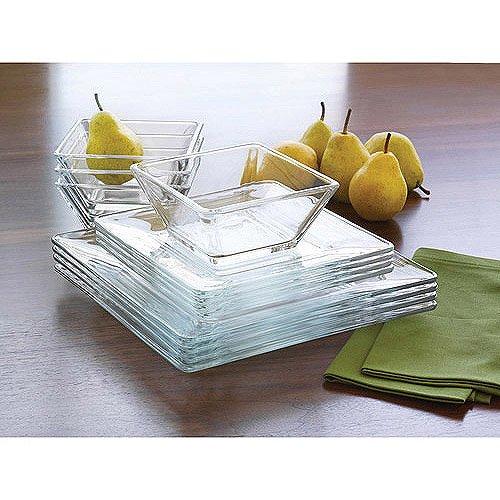 Mainstays 12 piece Square Glass Dinnerware product image