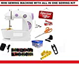 Ashlesha Premier Mini Sewing Machine with foot pedal bobbin and adapter (30),30 In 1
