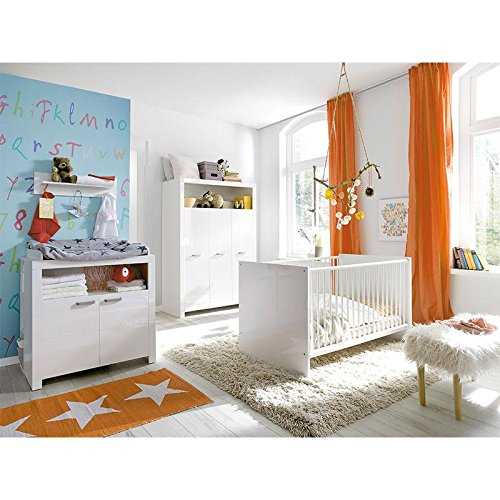 Trendteam Kinderzimmer TONI Weiß Nachbildung/Weiß Hochglanz TZ