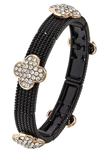 Bracelet Flower Station (Trendy Fashion Jewelry Four Petal Flower Station Link Metal Bracelet By Fashion Destination | (Black))