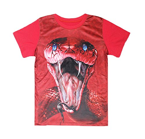 Coralup Kids Lifelike Print Cobra Short Sleeve T-Shirts Tops(4-5 Years,Red)]()