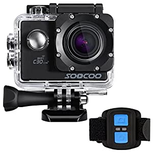 4k WIFI Sports Action Camera, SOOCOO Action Camera Waterproof 20MP 170 Degree Wide Angle Sports Video Camera 2 inch LCD Screen/2.4G Remote Control/32GB Micro SD Card/2 Batteries/19 Mounting Kits