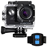 4k WIFI Sports Action Camera, SOOCOO Action Camera Waterproof 20MP 170 Degree Wide Angle Sports Video Camera 2 inch LCD Screen/2.4G Remote Control/32GB Micro SD Card/2 Batteries/19 Mounting Kits-Black