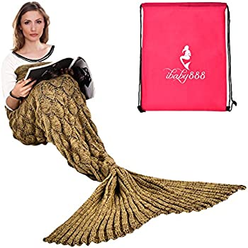 ibaby888 wearable mermaid tail blanket crochet all seasons warm knitted bed. Black Bedroom Furniture Sets. Home Design Ideas