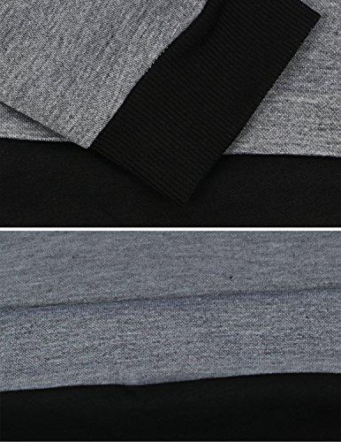 MODETREND Mujer 2pcs Chándales Tops + pantalones Sudadera con Capucha de Manga Larga Pullover Sweatshirt Sportswear Gris
