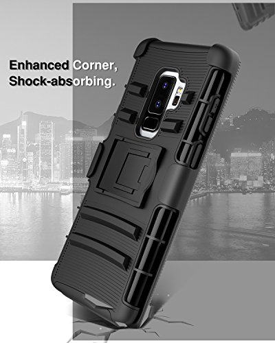 Samsung Galaxy S9 Plus Case, MoKo Case with Kickstand + Swivel Holster Belt Clip, Heavy Duty Full Body Rugged Bumper Armor Cover for Samsung Galaxy S9+ 2018