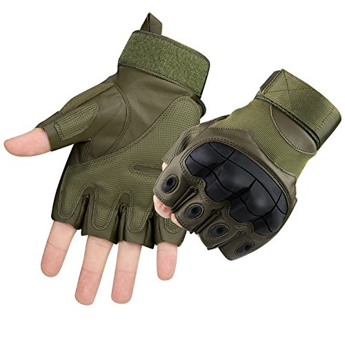 Accmor Tactical Gloves Military Rubber Hard Knuckle Gloves Fingerless Half Finger Outdoor Gloves Fit for Cycling Airsoft Paintball Motorcycle Hiking Camping