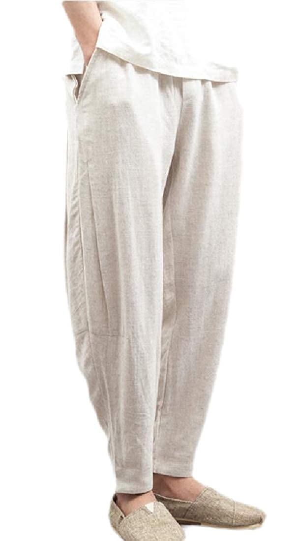 Men/'s Casual Summer Baggy Cotton Line Beach Harem Pants Trousers