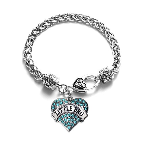 Inspired Silver - Little Bro Aqua Braided Bracelet for Women - Silver Pave Heart Charm Bracelet with Cubic Zirconia Jewelry