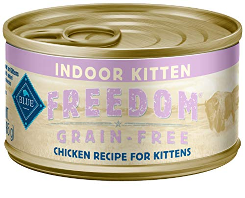Blue Freedom Kitten Indoor Grain Free Pate Chicken Wet Cat Food 3-Oz (Pack Of 24)