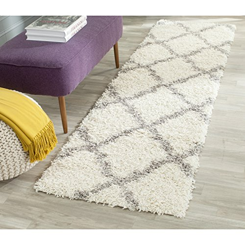 Safavieh Dallas Shag Collection SGD257F Ivory and Grey Runner (2'3