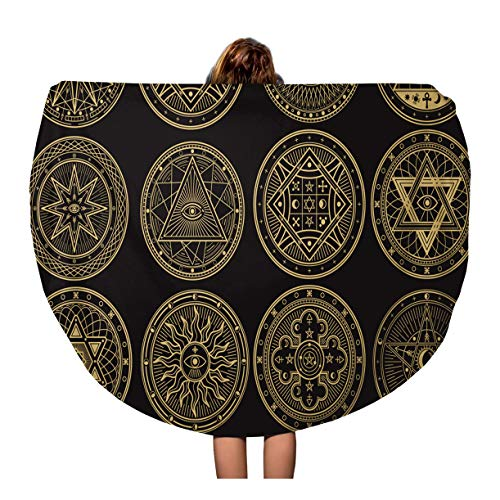 Semtomn 60 Inches Round Beach Towel Blanket Golden Mystery Witchcraft Occult Alchemy Mystical Esoteric Symbols Emblem Travel Circle Circular Towels Mat Tapestry Beach Throw