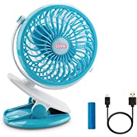 Mini Fan,LOVK Mini Portable Fan with Rechargeable Battery Personal USB Clip on Desk Fan for Baby Stroller,Crib,Office and Camping,Blue
