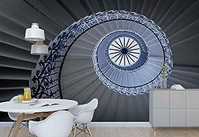 Papel Tapiz Fotomural - Escalera De Caracol Techo De Cristal Perspectiva - Tema Arquitectura - XXL - 416cm x 290cm (an. x alto) - 4 Tiras - impreso en papel 130g/m2 EasyInstall -