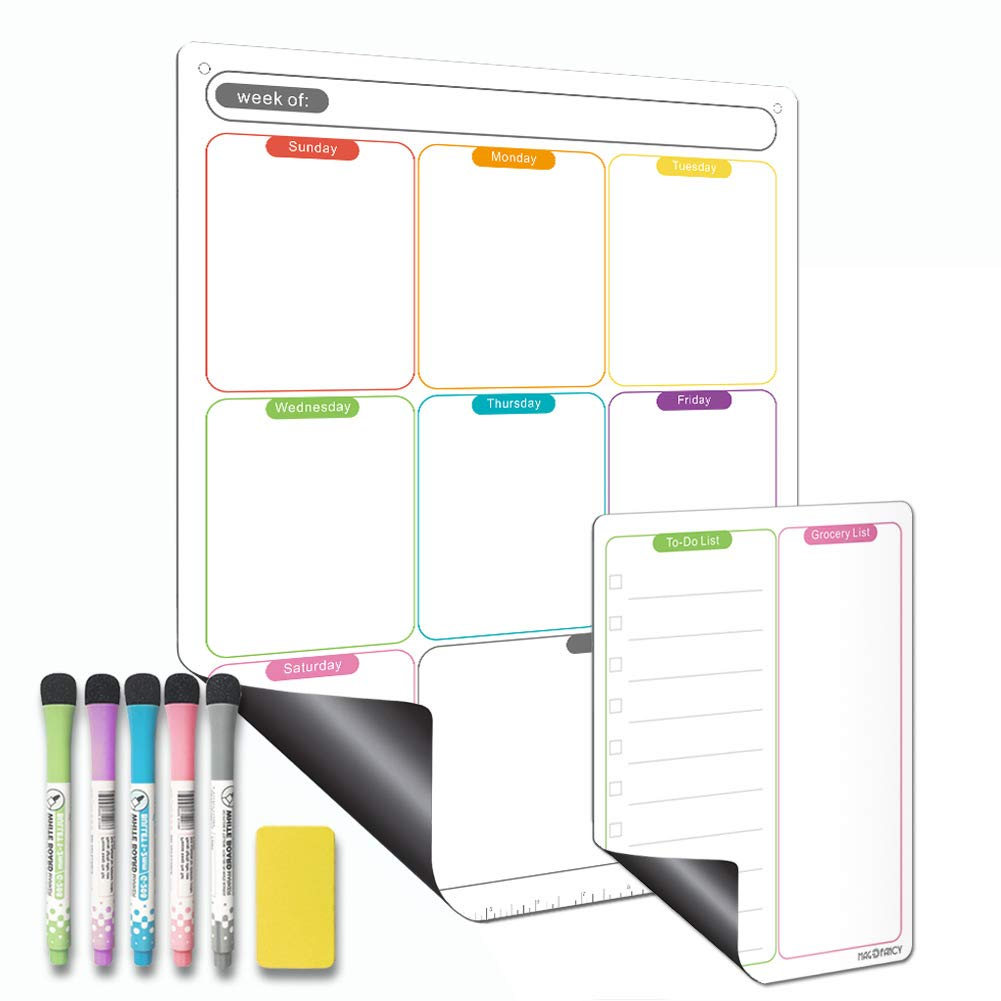 Dry Erase Calendar Vertical Monthly Fridge Calendar Whiteboard with Thickened Magnet Included Fine Point Marker /& Eraser /& Holes for Wall Hanging Magnetic Calendar for Refrigerator