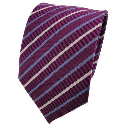 TigerTie cravate en soie magenta fuchsia bleu argent rayé - cravate en soie