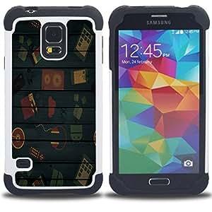 Dragon Case- Dise?¡Ào de doble capa pata de cabra Tuff Impacto Armor h??brido de goma suave de silicona cubierta d FOR Samsung Galaxy S5 I9600 G9009 G9008V- TECHNOLOGY HEADPHONES BLUE WOOD KIDS LINES