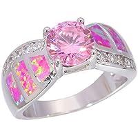 A.TATOON Pink Opal Pink Topaz Zircon Women Jewelry Gems Silver Ring Sz 6/7/8/9/10 OJ7956 (6)