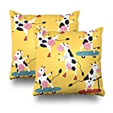 Soopat Decorativepillows Covers 18''x18'' set of 2, Two Sides Printed Collecti CartoFunky Cows Skates And Kick Scooters Throw Pillow Cases Home Decor