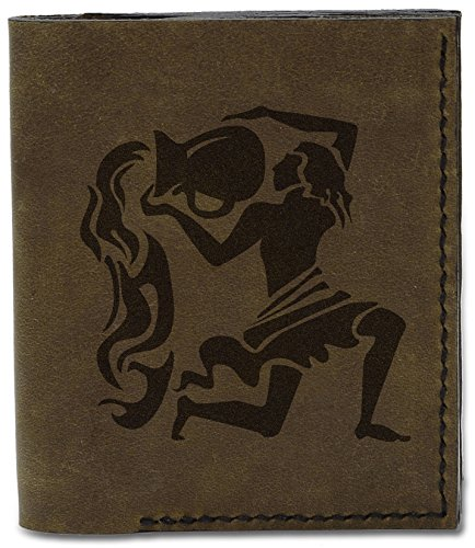 Aquarius Wallet Genuine 04 Men's MHLT Black Natural d Leather Zodiac Sign Handmade wUXUvp0q