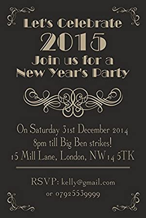 10 x personalised new years eve party invitations vintage great gatsby art deco