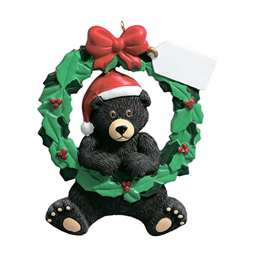 Personalized Black Bear Wreath Christmas Tree Ornament 2019 - Cute Animal Santa Hat Note Card Green Red Winter Holiday Tradition Grand-Son Grand-Daughter Kid Baby Friend Toddler - Free -