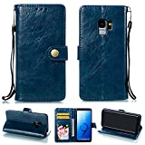 Ostop Samsung Galaxy S9 Leather Wallet Case,Navy Blue Classic Oil Wax PU Stand Purse Credit Card Slots Holder Flip Stylish Simple Cover Retro Metal Clasp Samsung Galaxy S9