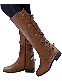 Women Boots Winter Tall Riding Leather Strappy Flat