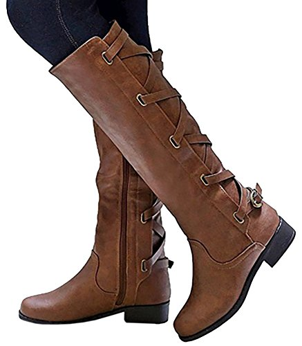 Syktkmx Womens Boots Winter Knee High Leather Riding Cowboy Low Heel Strap Boots (8.5 B(M) US, Brown) (Leather Boots Dress Womens)