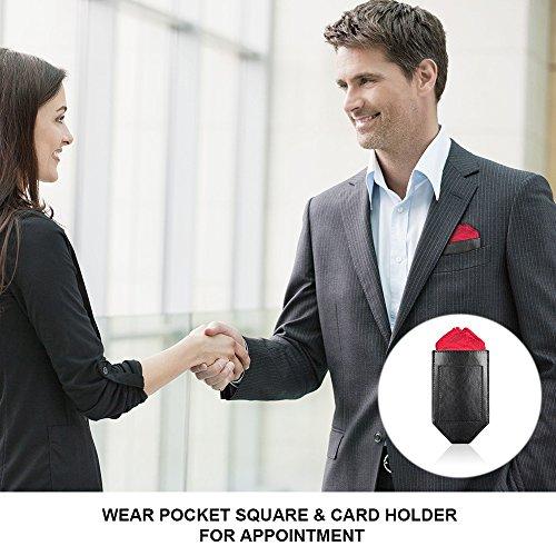 Pocket Squares For Men,Silk Men's Suit Handkerchiefs with Pocket Square Holder Set For Wedding Party Men Gift by pocket square (Image #2)