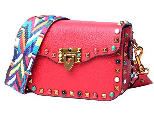 Genuine SAIERLONG Leather Bags Bags Designer Womens Body Ladies Red Shoulder Cross qR4fwROx