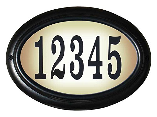 Qualarc LTO-1302-BL-LED-PN  Edgewood Rust Free Cast Aluminum Oval Lighted Address Plaque with Led Lights & 4 inch Black Polymer Numbers