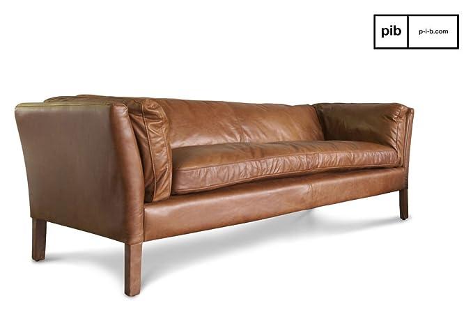 Sofa Hamar diseño escandinavo de Tres plazas - Cuero de ...