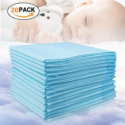 Baby Disposable Changing Pad, 20Pack Soft Waterproof Mat, Portable Diaper Changing Table & Mat, Leak-Proof Breathable Underpads Mattress Play Pad Sheet Protector(13'' 18'') by Youbaby