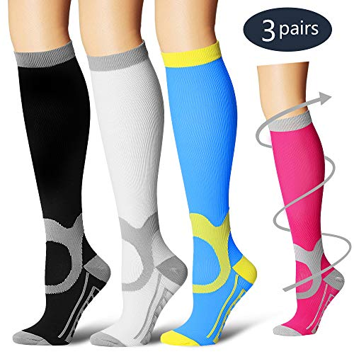 BLUETREE Compression Socks,(3 Pairs) Compression Sock for Women & Men - Best for Running, Athletic Sports, Crossfit, Flight Travel(Multti-colors11-L/XL) by BLUETREE
