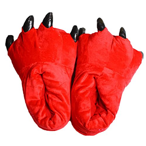Angelstormy Unisex-Adult Novelty Soft Warm Cartoon Cosplay Paw Claws Shoes Red Small(Child 28-35)