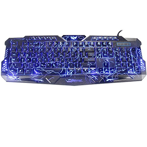 BlueFinger Adjustable Crack Backlit LED Gaming Keyboard with - Wireless Gaming Keyboard Blue