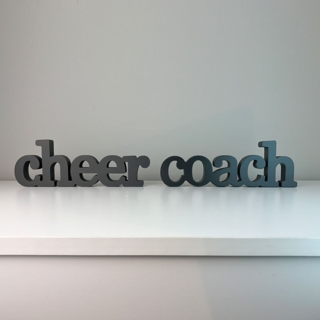 Amazon.com: Cheer Coach Wood Words |Coach Gift | Room, Shelf and Desk Décor | Ready to Autograph Wood Sign by ChalkTalk SPORTS: Sports & Outdoors