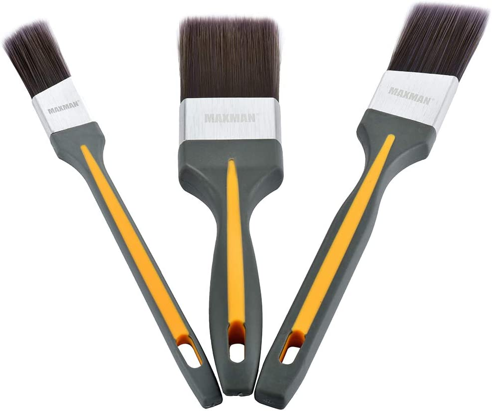 MAXMAN Paint Brushes, Angle Sash Paintbrush,Trim Paint Brushes for Walls,Furniture,Paint Brush Set with Rubber Grip Handle (3-Pack)