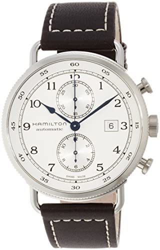 Hamilton Men s Stainless Steel Swiss-Automatic Watch with Leather Strap, Brown, 22 Model H77706553