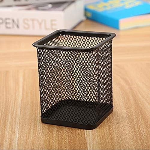 3 PCS Stiftehalter Feder-Behälter-Ineinander greifen Metall Bleistifthalter Cup,ZhangJJun (Color : Square Black)