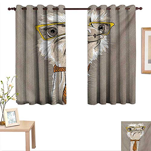 - Indie Waterproof Window Curtain Sketch Portrait of Funny Modern Ostrich Bird with Yellow Eyeglasses and Tie 63